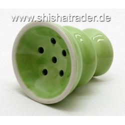 Kleiner Tabakkopf Ton glasiert Grün